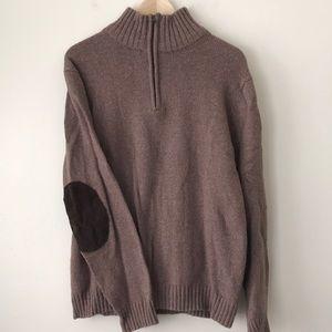 Men's Quarter Zip Sweater w. Elbow Patches